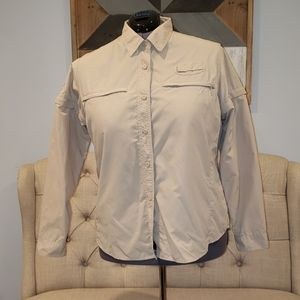 Cabela's Ladies 2XL Tan L/S Shirt UPF 25
